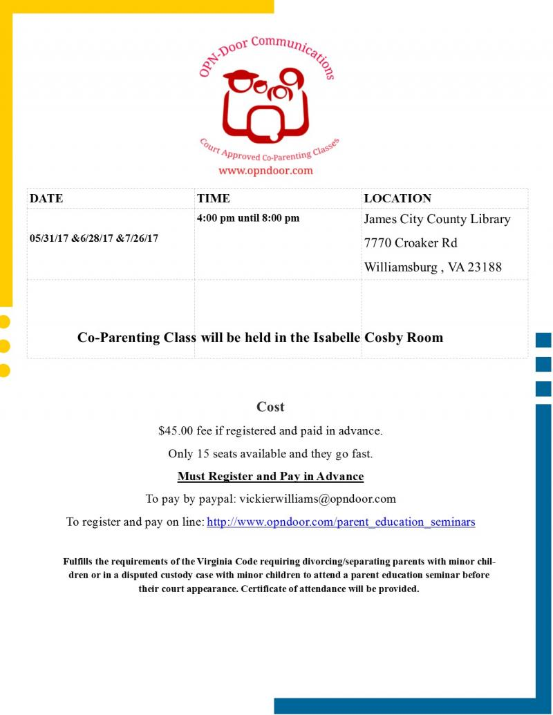 Co Parenting Class in Williamsburg1
